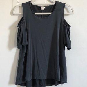 Dark Grey Shoulder Cut Out Shirt
